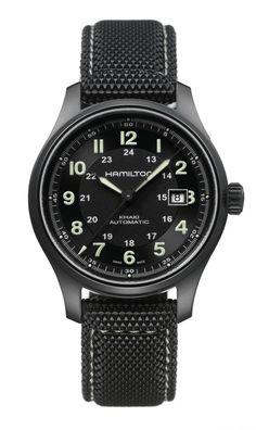 Hamilton Khaki Field Titanium //  Movimiento: mecánico automático / Caja: 42 mm  de titanio color negro / Cristal: zafiro / Correa: tejido color negro / Hermeticidad: 100 metros.
