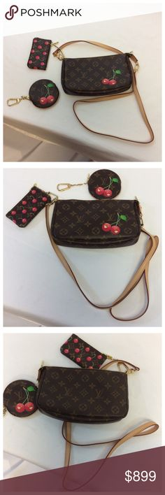 """LOUIS VUITTON 3 PC SET 3 PC LOUIS VUITTON CHERRY CROSSBODY BAG WITH ROUND COIN BAG AND SQUARE KEY/CARD BAG. Brand new only used once. Approximate measurements are 9"""" long, 5 1/2"""" high, and 1 1/2"""" wide. SOLD AS A SET. L006 Louis Vuitton Bags Crossbody Bags"""