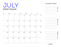 Free Fillable July Cleaning Calendar
