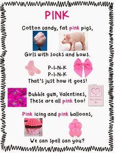 Color Pink Worksheet For Preschool Poem Color Songs Preschool, Preschool Poems, Color Activities, Craft Activities For Kids, Letter Activities, Color Song For Kids, Color Songs For Toddlers, Frog Street Press, Daycare Themes