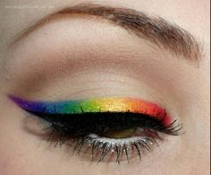 (Unknown makeup brand) ~ multicolour eyeliner, could be recreated with the Urban Decay Electric Palette