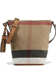 Burberry - Mini Leather-trimmed Checked Canvas Shoulder Bag - Brown - one size