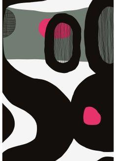 Mustekala fabric designed by Jenni Tuominen for Marimekko Graphic Patterns, Textile Patterns, Textile Prints, Textile Design, Fabric Design, Print Patterns, Floral Patterns, Lino Prints, Block Prints