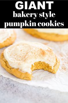 Giant Pumpkin Cookies are a bakery-style pumpkin cookie that are super soft, filled with pumpkin spice, and topped with an irresistible maple cream cheese frosting! They are the perfect fall pumpkin spiced treat.