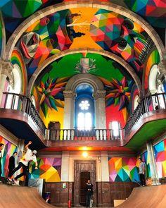 Et la vieille église devint piste de skate ! / La Iglesia Skate. / Street art. / Llenera. / Espagne. / Spain. / By Okuda.