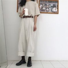 straight cut pants best outfits The clothing culture is quite old. Girly Outfits, Mode Outfits, Korean Outfits, Pretty Outfits, Vintage Outfits, Grunge Outfits, Casual Outfits, K Fashion, Moda Fashion