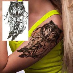 Dream Catcher Wolf Tattoo