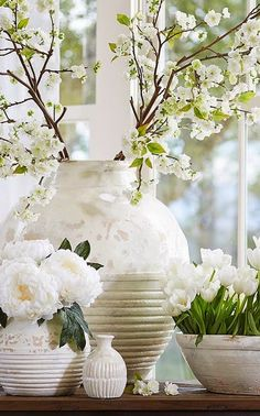 white & taupe pots and urns
