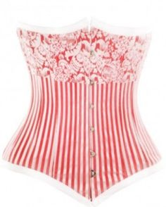 fac363988c5 New gorgeous Red Striped Long Underbust Corset for waist training. The  flower and stripe print
