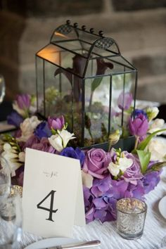 baltimore wedding table numbers Jennifer McMenamin Photography French Chateau Inspired Wedding Reception in Baltimore: Carolyn + Thomas Purple Wedding Tables, Purple Wedding Centerpieces, Purple Table, Wedding Table Numbers, Gold Wedding, Wedding Flowers, Dream Wedding, Wedding Decorations, Wedding Ideas