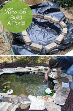 Garden Ideas How to Build a Pond; Easily, Cheaply and Beautifully - Learn how to build a pond! Try these DIY pond tutorials for your backyard. These are simple outdoor projects even beginners can do! Outdoor Projects, Garden Projects, Diy Backyard Projects, Crafty Projects, Building A Pond, House Building, Building Ideas, Turtle Pond, Diy Pond