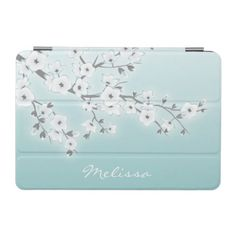 Floral Cherry Blossoms White Mint iPad Mini Cover