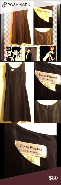 ⚡️FLASH SALE⚡️ LOUIS FERAUD LINEN PINTUCK DRESS Elegant vintage sleeveless frock by Louis Feraud has a scoop, banded neckline, pintuck bodice, gored skirt.  The Louis Feraud boutique debuted in 1959 in Cannes, France.  By the 70's, his designs were produced in Germany, then by the 80s in London, with strict adherence to Feraud's impeccable tailoring, and fine fabrics.  This fabulous French design LBD has a tag that reads Germany, so was apparently reproduced in the 70's.  Linen 85% Nylon…