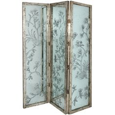 Established 98 Bella Bird & Floral Three-Panel Glass Screen (€215) ❤ liked on Polyvore featuring home, home decor, panel screens, decor, furniture, glass screen, glass room dividers, bird home decor, floral home decor and tri fold screen