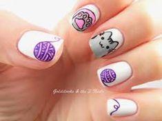 Sweet Cotton Candy Nail Colors and Designs Pusheen Cat Nail Art / Cat Nails Cat Nail Art, Animal Nail Art, Cat Nails, Nail Art Diy, Simple Nail Art Designs, Cute Nail Designs, Cotton Candy Nails, Kawaii Nails, Beautiful Nail Art