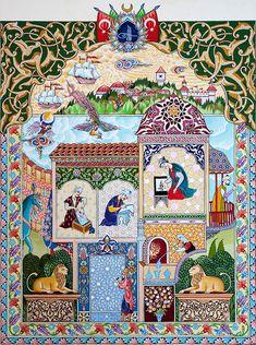 Granada, Persian Blue, Islamic Paintings, Iranian Art, Turkish Art, Oriental, Illuminated Manuscript, Islamic Art, Traditional Art