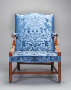 """This Charleston, South Carolina, 1765-1775, """"French"""" elbow chair recently received a completely new upholstery treatment based on surviving fragments of its original show cloth. The upholstery treatment was done by Leroy Graves of Colonial Williamsburg, and is completely removable."""