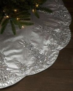 Chandelier Christmas Tree Skirt Exclusively ours. Beautifully scalloped and detailed with chandelier-motif designs, this tree skirt may outshine your Christmas tree. Made of cotton/Lurex® accented with plastic and glass beads. Wedding Dress Quilt, Old Wedding Dresses, Wedding Dress Crafts, Bridesmaid Dresses, Xmas Tree Skirts, Recycled Wedding, Stocking Tree, Christmas Stockings, Christmas Angels