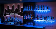 LED Lighted Floating Bar Shelving with Integrated Wine Glass Rack