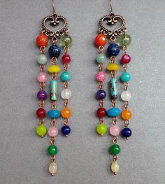 long BOHO earrings multicolor Colorful earrings Different gemstones Jewelry earrings chandelier Gypsy earrings Dangle Gift for women For her Citrine Earrings, Chandelier Earrings, Boho Earrings, Fashion Earrings, Diy Jewelry, Gemstone Jewelry, Jewelry Ideas, Pink Quartz, Handcrafted Jewelry
