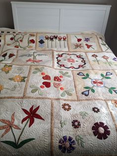 my patchwork quilt, applique 'A Pieceful Garden'