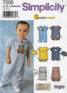 Simplicity Sewing Patterns Babies/' Accessories Baby Shoes Romper Hats Cover Bibs