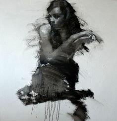Artist: Mark Demsteader {contemporary figurative #expressionist painter seated female abstract drip woman texture grunge painting #loveart}