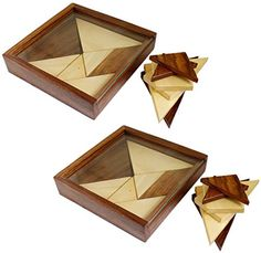 Set of 2  Tangram 2In1 Puzzle 3D Wooden Game  Brain Teaser Jigsaw Puzzle  Bits and Pieces Floor Puzzle for Kids 46x 46