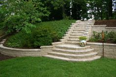 Retaining Wall & Steps by Living Spaces Home & Lanscape Services.