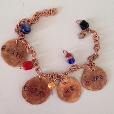 Hammered copper charm bracelet by BeezDezignz on Etsy Hammered Copper, Charmed, Unique Jewelry, Bracelets, Handmade Gifts, Etsy, Vintage, Kid Craft Gifts, Craft Gifts