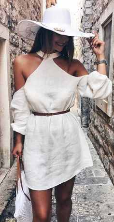 #fall #outfits  White Hat + White Cold Shoulder Dress