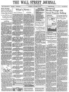 Black Monday: WSJ front page, Oct. 20, 1987