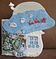 Sylvia's Kaartenpret Scrapbook Box, Scrapbooking, Christmas Cards, Xmas, Mushroom House, Marianne Design, Cool Items, Kids Cards, Mice