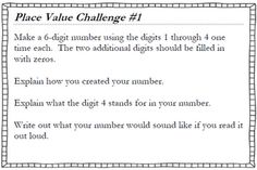Classroom Freebies Too: Place Value Challenge Cards
