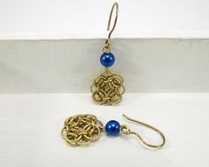 Helm Chainmaille Set   Earrings  brass and blue bead by ZsaMo, $12.00