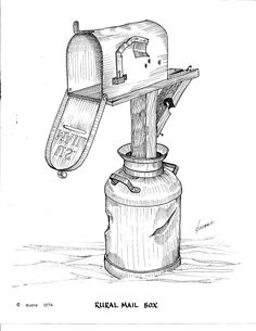 Rural mail box, complete with milk can base and bullet holes in the side. Rural mail box, complete w Pencil Art Drawings, Drawing Sketches, Sketching, Drawing Ideas, Line Drawing, Painting & Drawing, Coloring Books, Coloring Pages, Colouring