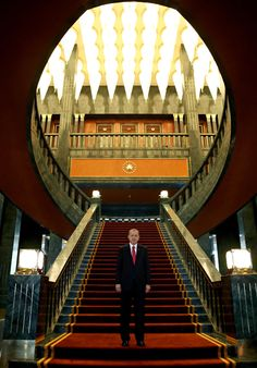 TURKEY'S PRESIDENT AND HIS 1,100-ROOM 'WHITE PALACE' - Erdogan stands in the newly built presidential palace in Ankara before the start of the 91st anniversary celebrations of the Turkish Republic on Oct 29.