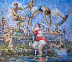 """On the sunny side"" by Russian artist Victor Lyapcalo. Alex Colville, Audrey Kawasaki, Carl Larsson, Andrew Wyeth, Akira, Fat Art, Art Advisor, Art Database, Russian Art"