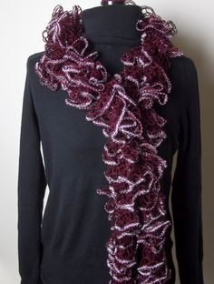 Flounce Ruffle Scarf - Crimson and Silver by CityGirlCreations98.etsy.com