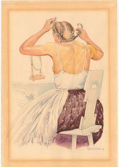 E 15068 Karel Zapletal, Svobodná Hanačka v tlumackém kroji při úpravě vlasů pod škrabanec,
