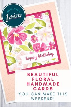 Learn how to make beautiful floral cards like this in a weekend with this quick and easy card making tutorial!    #handmadecards #papercrafts #tutorial Card Making Ideas For Beginners, Card Making Tips, Card Making Tutorials, Card Making Techniques, Handmade Cards For Friends, Birthday Cards For Friends, Handmade Birthday Cards, Card Making Templates, Happy Birthday Beautiful