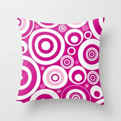 """Circles Throw Pillow by Alice Gosling - $20.00   Available in 3 sizes, with or without the insert and 16"""" with cover for outside use  #pillow #cushion #home #unique #pink #circles #pattern #shapes #fun"""