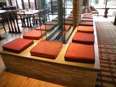 Very cool concrete seat around the fireplace in the lobby bar/restaurant at the Denver Marriott Westminster.