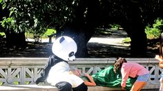 AND...a model and a Panda setting up for a photo shoot at Prospect Park...
