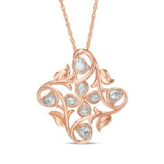 db8834043 T.w. Diamond Tilted Square Leaf Filigree Vintage-Style Pendant in