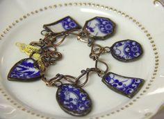 Charm Bracelet, BLue and White China.