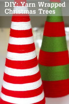 This is the easiest Christmas craft ever and makes these adorable yarn wrapped Christmas trees! See more party ideas at CatchMyParty.com. #christmascrafts #christmastreecraft #kidscrafts