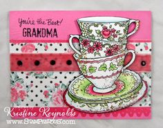 Send a smile to Grandma with this gorgeous #cre8time teacup card by Kristine Reynolds. #stampendous #tealovers #stamping