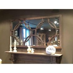 Wooden framed mirror with circles feature offering a rustic shabby chic feel. Product size 156 x Shabby Chic Mirror, Rustic Shabby Chic, Large Rectangle Mirror, Mantel Mirrors, Overmantle Mirror, Window Mirror, Cabin Interiors, Wooden Frames, Living Room Designs