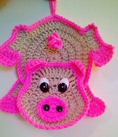 Bildergebnis für www. Crochet Hot Pads, Crochet Pig, Crochet Motif, Crochet For Kids, Crochet Animals, Crochet Crafts, Crochet Doilies, Crochet Toys, Crochet Projects